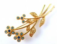 Vintage Blue Rhinestione Flower Brooch By Movitex